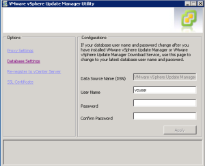 Update Manager database Settings