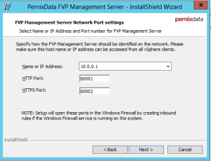 Install - FVP Management Server IP-port