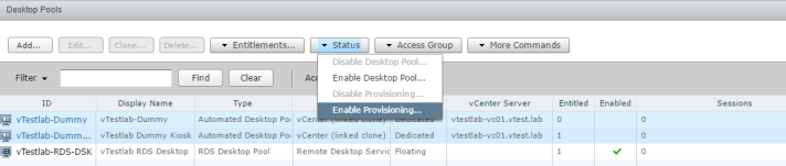 Capture - Disable Provisioning Desktop Pool