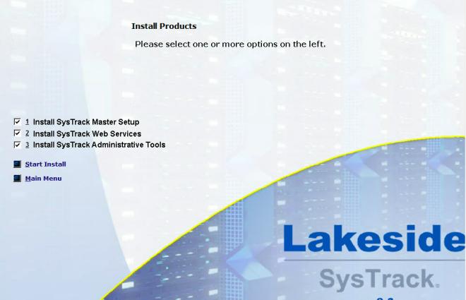 SysTrack Install menu