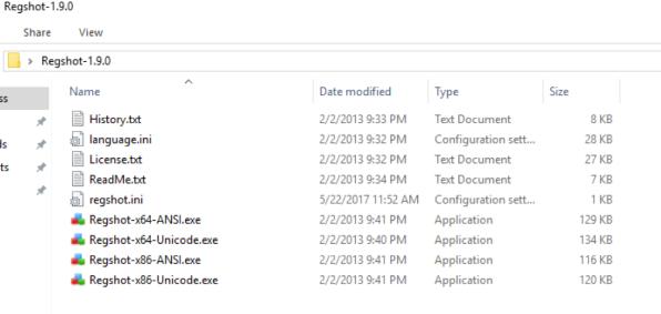Regshot Files