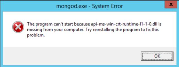 System Error - Mongod