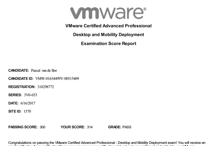 VCAP Passed